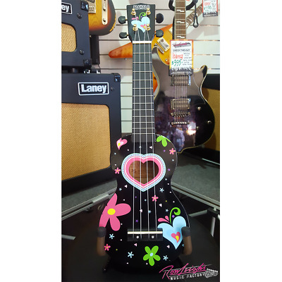 Mahalo Art Series Heart and Flowers Soprano Ukulele with Bag and Aquila Strings