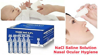 100 x 5 ml Sterile Saline Solution NaCl 0,9% Nebulizer Nose Ear Eye Lens Wash