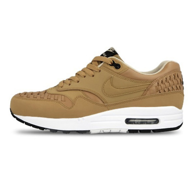 free shipping 4867f fb940 New Nike Air Max 1 Woven 725232-200 Pale Shale - Black Brown Casual Shoes