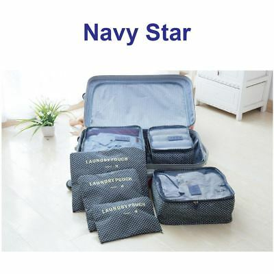 6 Pcs Packing Cube Storage Travel Luggage Organizer Bag Navy Star Colour