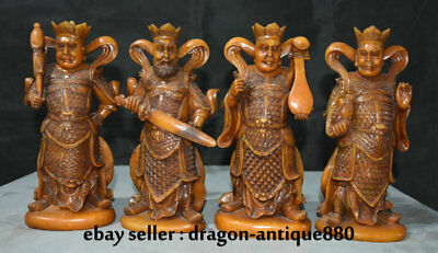 """10"""" Old Chinese Shoushan Stone Carving Four Heavenly Kings Weapon Statue Set"""