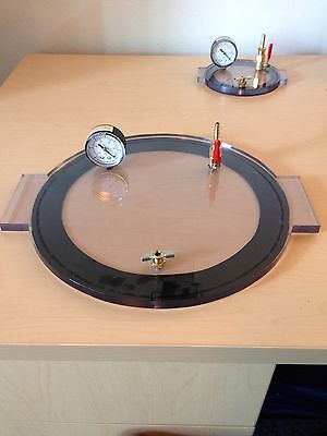 "Vacuum Chamber Lid 9"" Diameter Polycarbonate Complete And Ready Degassing"
