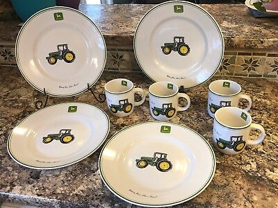 John Deere Tractor by Gibson Designs LOT of 4 Large Dinner Plates u0026 4 Mugs EUC & JOHN DEERE TRACTOR by Gibson Designs LOT of 4 Large Dinner Plates ...
