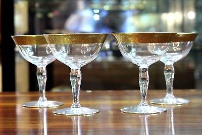Set of 4 Mid Century, Gold Gilted Champagne Coupes