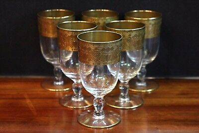 Set of 4 Mid Century, Gold Gilted Aperitif Glasses