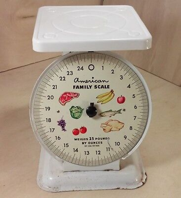 Vintage Metal Base American Family Scale 25 LB By Ounces Kitchen Counter Top