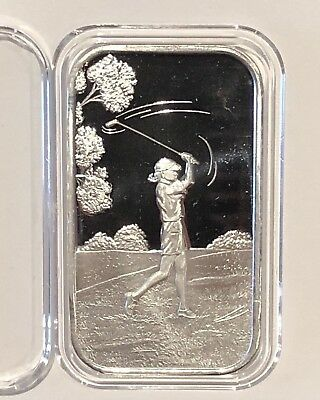 Female Golfer Gift 1 Troy Oz .999 Fine Pure Silver Ingot Medal Collectible Bar