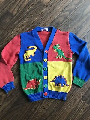 80s 90s VTG Sweater DINOSAUR Cardigan Harlequin  Knit  6X Boys