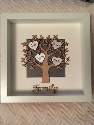 Personalised Family Tree Box Picture Frame Family 9x9 Giftpresent