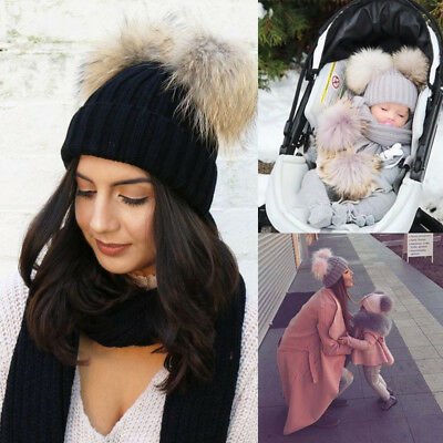 Women Mother Baby Child Warm Winter Knit Beanie Fur Pom Hat Crochet Ski Cap BG