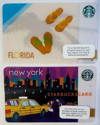 4 STARBUCKS DISCONTINUED City Cards - 2010 NY Taxi, Florida, Chicago, New York
