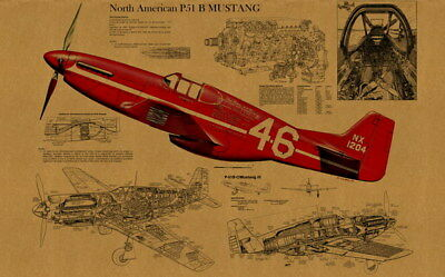 """031 Blueprint - North American P51 Wars Fighter 38""""x24"""" Poster"""