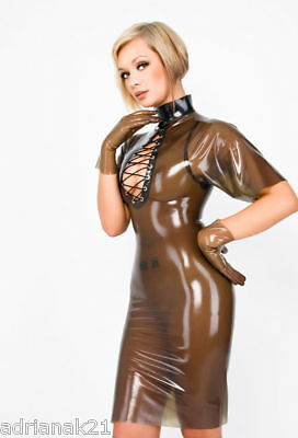 Robe Latex Decolleté avec Laçage Rubber Dress S-XXL