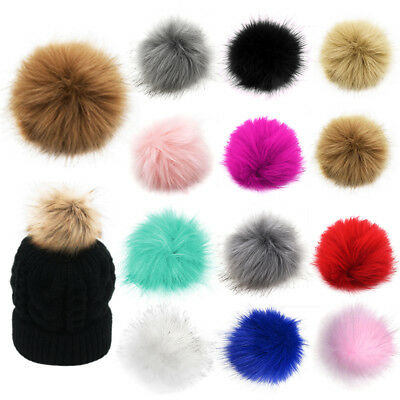 12Pcs 10cm PomPom Ball Faux Fox Fur Fluff Balls for Pom Pom Hat Accessories BG