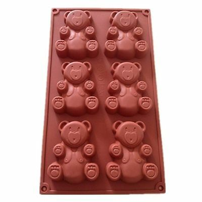 6 Cavity Teddy Bear Silicone Mould Cookie Chocolate Baking Mold