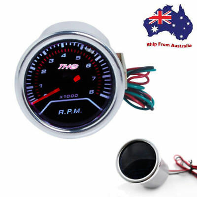 "2"" 52mm 12V 8000 RPM Tacho Tachometer Black Face Red Needle Car Gauge Meter AU"