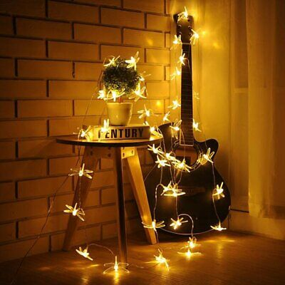 20 Led Solar String Lights Dragonfly Waterproof Outdoor Garden Party Lamp UK