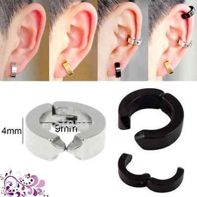 Sale Multi Colour 2 Pcs Stainless Steel Non-Piercing Punk Clip Hoop Cool Earring