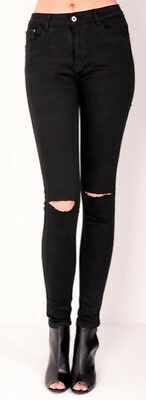 New Skinny High Waist Ripped Knee Black Jeans Trousers 5 Pockets