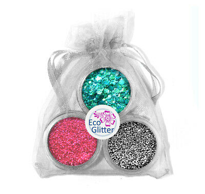 3 Biodegradable Glitters - Incl 1 Chunky! Festival Bio Eco Tattoos Gift Bag Kha