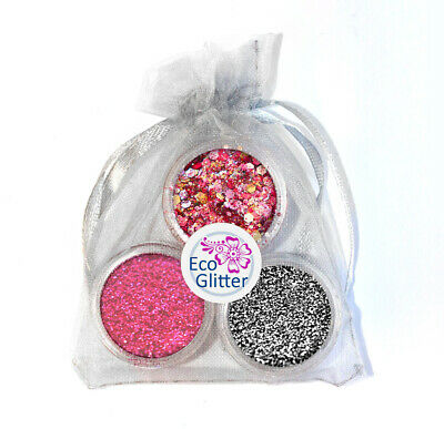 3 Biodegradable Glitters - Incl 1 Chunky! Festival Bio Eco Tattoos Gift Bag Khb