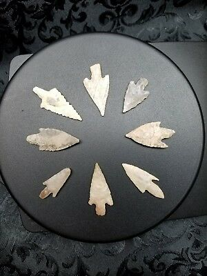8 bullet and Triangular , stemmed Sahara Desert Neolithic arrowhead...