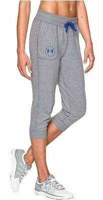 Under Armour Women's Charged Cotton Tri-Blend Freedom Capri Gray Blue XS NEW