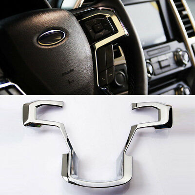 1pc Chrome ABS Steering Wheel Moulding Cover Frame Trims Kit for 15-17 Ford F150