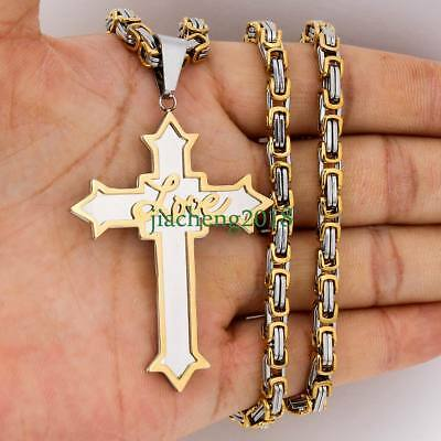 Mens stainless steel Gold Silver Love Cross Pendant Byzantine Chain Necklace USA