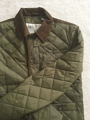 JACK WILLS Men's Quilted Nylon Barbour Style Jacket Sz Small Olive Green