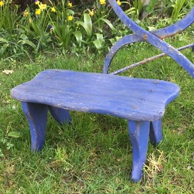 Stunning Old Vtg Shabby FRENCH Wooden STOOL STAND Chippy Blue Garden Porch