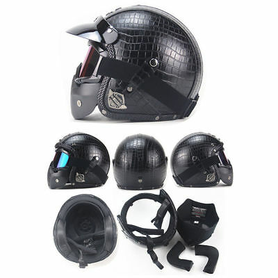 Motorcycle Helmets 3/4 Open Chopper Bike Helmet PU Leather +Face Mask For Harley