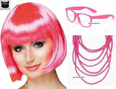 Grease 50s Pink Ladies Glasses Bob Wig & Necklace x2 Fancy Dress RACE FOR LIFE