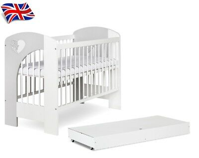High Quality Baby Real Wood White & Grey Cot Bed With/without Drawer+Mattress