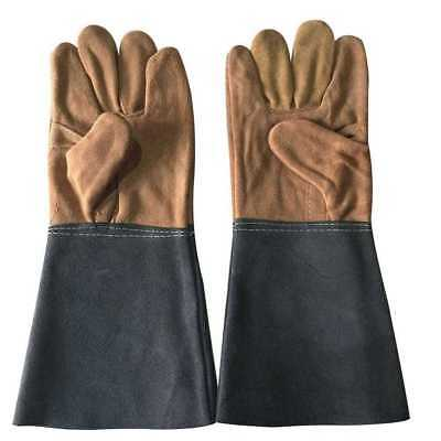 1pair Durable Welding Welder Work Soft Cowhide Leather Gloves Hand Protec Gift