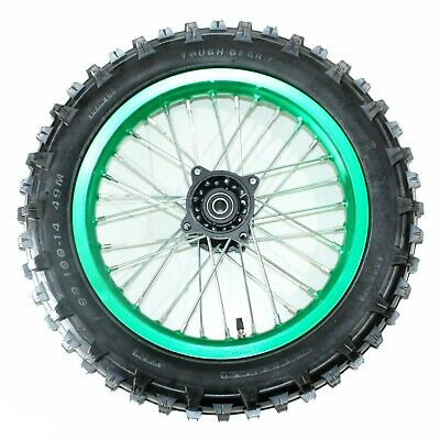 "BLACK 90/100- 14"" Inch Rear Back Wheel Rim + Knobby Tyre Tire PIT PRO Dirt Bike"