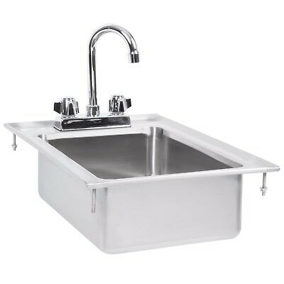 """One Compartment w/ Faucet 10"""" x 14"""" x 5"""" Stainless Steel Drop In Sink Commercial"""