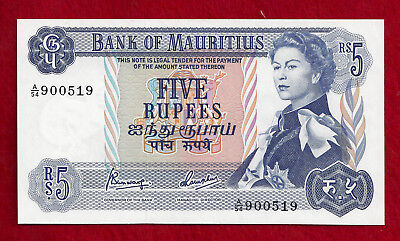 1967  (ND)  Mauritius 5 Rupees Note   P-30c