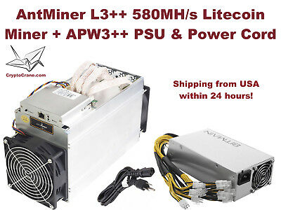 NEW Bitmain AntMiner L3+ 504 MH/s Litecoin Miner with PSU In-Hand Shipping Now
