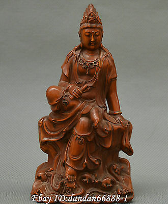 Collect Chinese box-wood Hand carved Seat Kwan-yin Guanyin Bodhisattva statue
