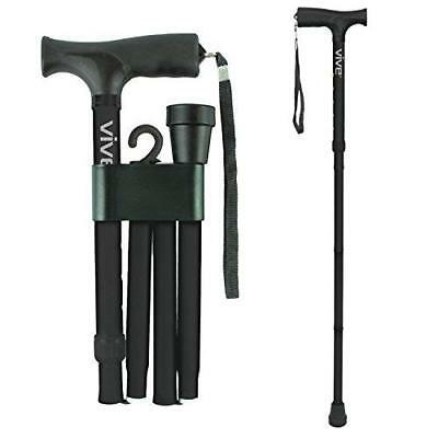 Folding Cane by Vive - Walking Cane for Men & Women - Collapsible, Lightweight,