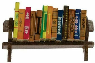 Dollhouse Miniature Set of 12 Large Books on a Wood Shelf