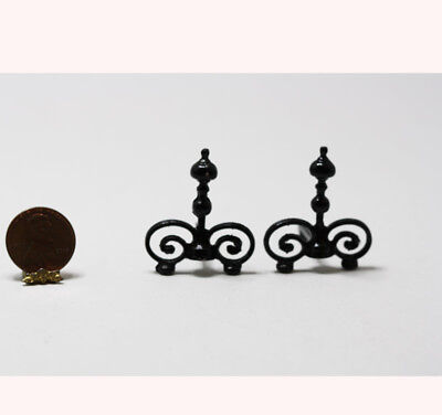 Dollhouse Miniature Pair Victorian Black Fireplace Andirons