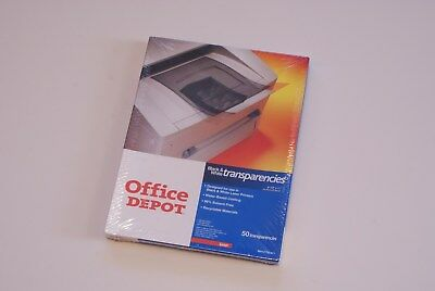 New Sealed 50 Count Office Depot Black & White Transparencies Free Priority Ship