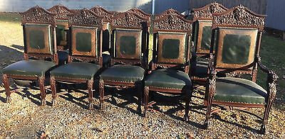 Rare Set Of 10 R.j. Horner Heavily Carved Mahogany Dining Chairs
