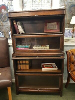 1930s Globe Wernicke Style Stacking Oak Library/ Barristers Bookcase 4 Section