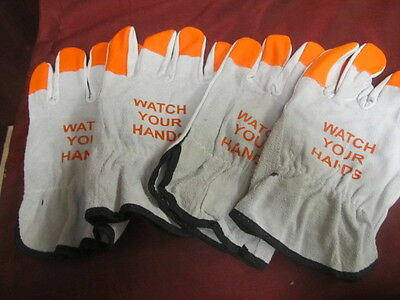 """2 New """"watch Your Hands"""" Medium - Large Pigskin Driving/work Leather Gloves"""