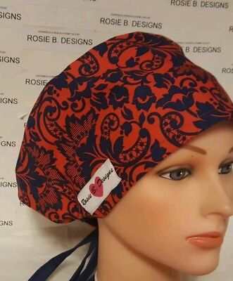 Red &  Blue  Floral  Pixie Hat / Scrub Surgical / Medical /chemo Cap