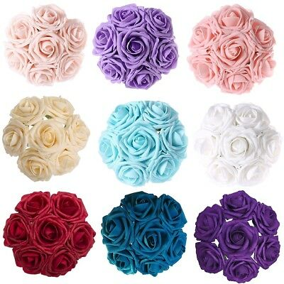 1-100 Artificial Foam Roses Flowers With Stem Wedding Bride Bouquet Party Decor