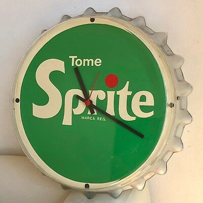 Antique SPRITE Vintage Advertising ORIGINAL Button Cap Wall Clock